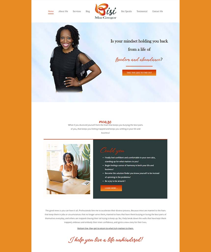 Bisi Macgregor Website Design by Branding Potions